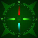 Compass. Display compass with illumination. Vector illustration. Royalty Free Stock Image
