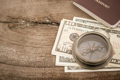 Compass and dollar banknote. Stock Images