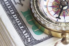 Compass and dollar concept. For chart or guide for success Royalty Free Stock Photos