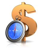 Compass and dollar sign Stock Photos