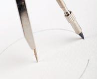 Compass drawing circle Stock Photo