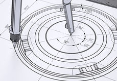 Compass on the drawing. The 3d render Stock Photos