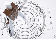 Compass on the drawing. The 3d render Royalty Free Stock Photos