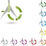 Compass, drawing tool and circle, tool logo Stock Photo
