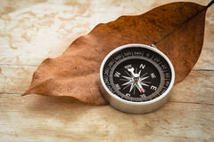 Compass and dried leaf on old wooden background, vintage style Stock Photography