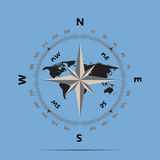 Compass and earth on a blue background flat style Royalty Free Stock Photography
