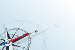 Compass east background. Compass east. Compass with wind rose, the arrow points to the east. Compass on a blue background. Compass illustrations can be used as Stock Photography