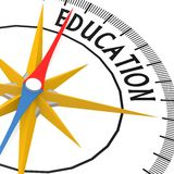 Compass with education word Royalty Free Stock Photos