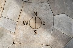 Compass etched into stone floor. Compass points embedded in stonework in state park Stock Images