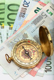 Compass and euro Royalty Free Stock Images
