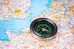 A compass on Europe Stock Photos