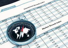 Compass and Financial report Stock Photos
