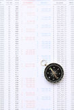 Compass on financial statement. A black compass placed on a bank statement stock images