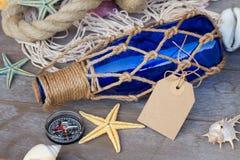 Compass on fishing net Stock Image