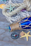Compass on fishing net Stock Images