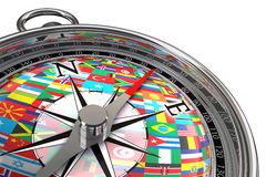 Compass with flags travel metaphor Royalty Free Stock Images