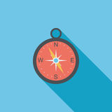 Compass flat icon with long shadow. Cartoon vector illustration stock illustration