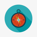 Compass flat icon with long shadow. Vector illustration file royalty free illustration