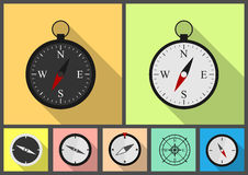 Compass flat set. Compass set. Flat icons. Navigation instruments Royalty Free Stock Photography