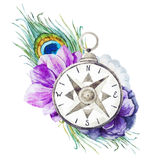 Compass with flowers Stock Photos