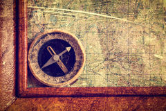 Compass and frame on the map. Stock Photos