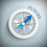 Compass Future. Compass with  map and blue text Future Royalty Free Stock Images
