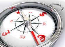 Compass for global currency. Conceptual image select currency to invest money Stock Photography