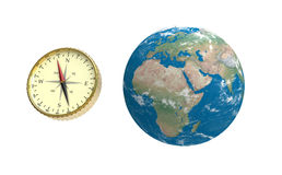 Compass and globe Royalty Free Stock Photography