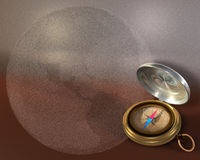 Compass and Globe. Opened compass on metallic background and bubble globe Stock Images