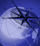 Compass and Globe. Abstract background with compass icon and world globe Royalty Free Stock Photos