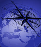 Compass and Globe. Abstract background with compass icon and world globe royalty free illustration