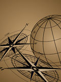 Compass and Globe. Abstract background with compass icons and world globe Royalty Free Stock Photos