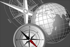 Compass and Globe. Abstract background with compass icons and globe stock illustration