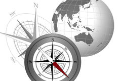 Compass and Globe. Abstract illustration with compass icons and globe stock illustration
