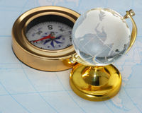 Compass and globe Royalty Free Stock Image
