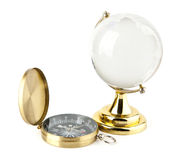 Compass and the globe Royalty Free Stock Photography