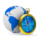 Compass and globe on white background Royalty Free Stock Images