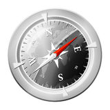 Compass glossy. Glossy metalic compass illustration depicted on white background Stock Image