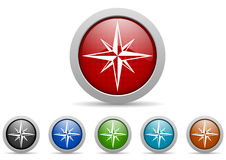 Compass glossy web icons set on white background Stock Image
