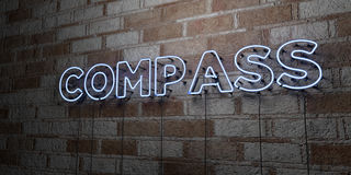 COMPASS - Glowing Neon Sign on stonework wall - 3D rendered royalty free stock illustration Royalty Free Stock Image