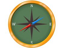 Compass. A compass with gold frame Royalty Free Stock Photos