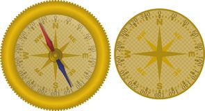 Compass gold plated Stock Image