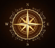 Compass. Gold compass rose ornate- creative design element Stock Images