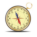 Compass. Compass with gold trim and a rose winds Royalty Free Stock Image
