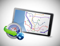 Compass and gps tablet Stock Images