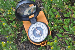 Compass in the grass. Royalty Free Stock Photo
