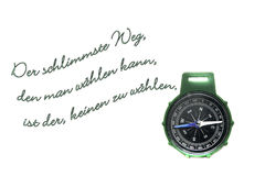 Compass. Green arrow on a white background, with inscription the worst way to choose is not to choose Stock Images