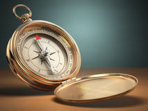 Compass on green background with space for text. Navigation. Stock Image