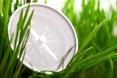 Compass in green grass Stock Photo