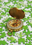 Compass on green puzzle Stock Image